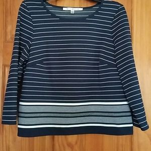 Women's 3/4 Sleeve Shirt, Navy Blue striped, Lg